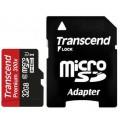 Карта памяти TRANSCEND microSDHC 32GB Class 10 UHS-I + ADP (TS32GUSDU1)