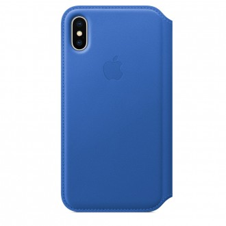 Чехол для iPhone X, Apple Leather Folio MRGE2ZM/A Electric Blue