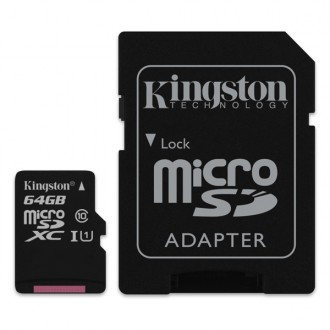 Карта памяти Kingston SDHC Micro SDC10/64GB Black