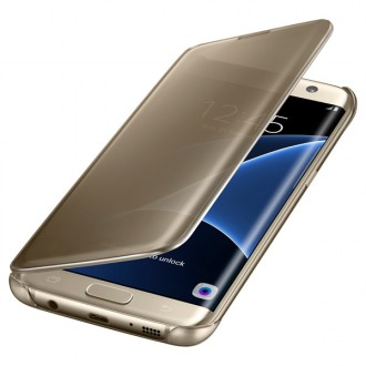 Чехол для Samsung Galaxy S7 Edge, Samsung Clear View Cover  Gold
