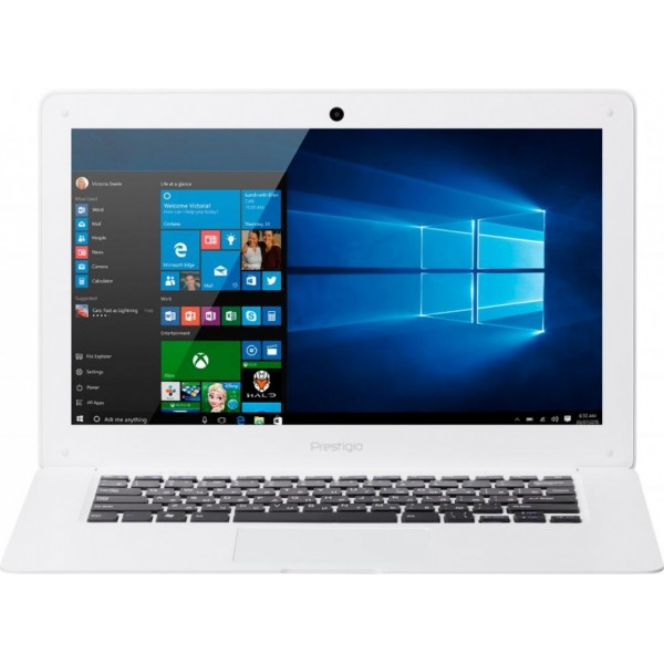 Prestigio Ноутбук Prestigio SmartBook 141A03 White (PSB141A03BFW_MW_CIS) (Intel Atom Z3735F 1300 MHz/14.1/1366x768/2.0Gb/32Gb SSD/DVD нет/Intel GMA HD/Wi-Fi/Bluetooth/Win 10 Home)