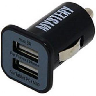 Автомобильное зарядное устройство Mystery MUC-2/3A Black