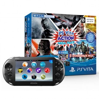 Игровая приставка Sony PlayStation Vita Slim Wi-Fi Black + Карта памяти Sony 8Gb + промокод Action MegaPack PCH-2008