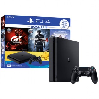 Игровая консоль PlayStation 4 500GB+GTS+UC4:Путь вора+Horizon:ZD CE  Black